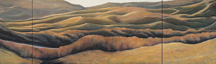 Dawn Ramble oil triptych 80 x 24