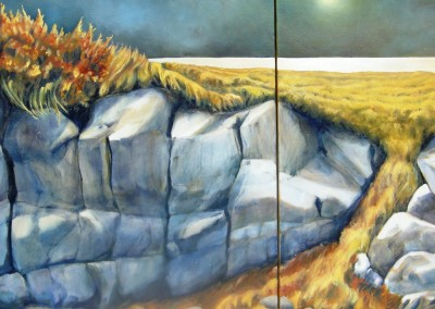 Wild Shore 56 x 24 diptych oil